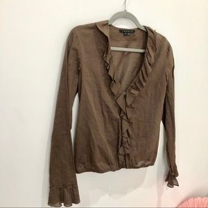 Theory brown cotton blouse ruffle neckline size s